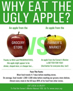 Local food vs imported food. Buy at Farmers Market